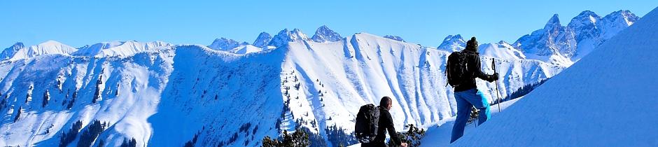 Geführte Skitouren, Tiefschneekurs, Geführtes Schneeschuwandern, Lawinenausbildung